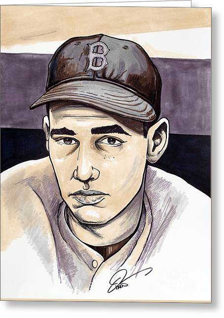 Boston Red Sox Greeting Cards - Ted Williams Greeting Card by Dave Olsen