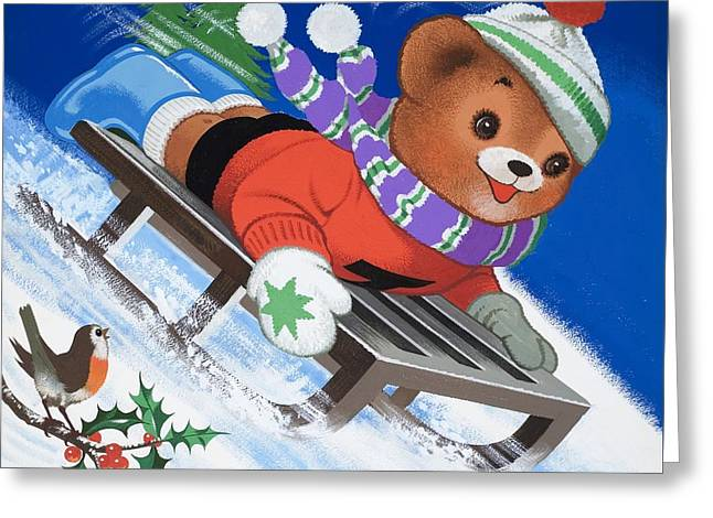 Toboggan Greeting Cards - Teddy Bear Sleigh Ride Greeting Card by William Francis Phillipps