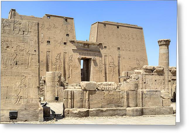 Horus Greeting Cards - Temple of Edfu - Egypt Greeting Card by Joana Kruse
