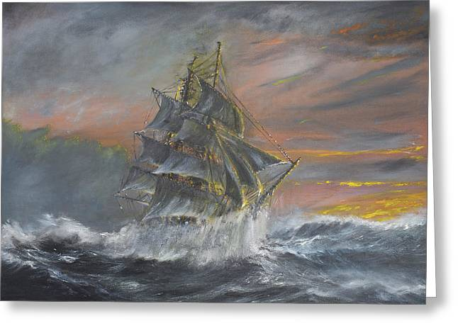 Sailing Ship Greeting Cards - Terra Nova Greeting Card by Vincent Alexander Booth