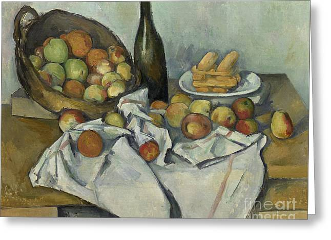 The Basket Of Apples, Greeting Card by Paul Cezanne
