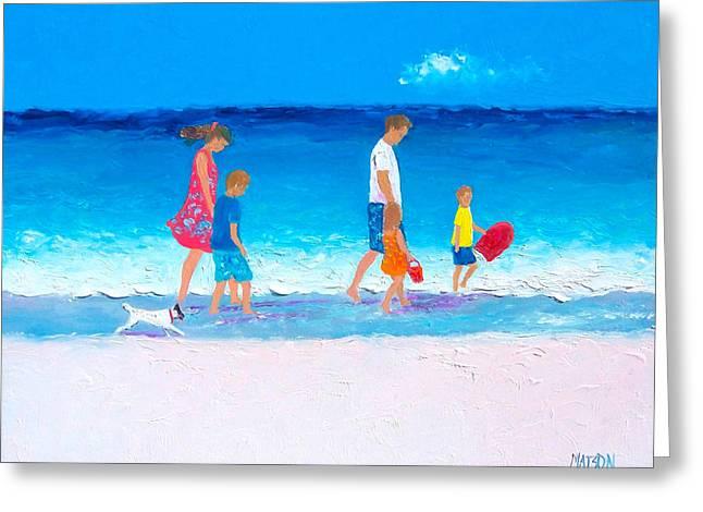 Dog Beach Print Greeting Cards - The Beach Holiday Greeting Card by Jan Matson