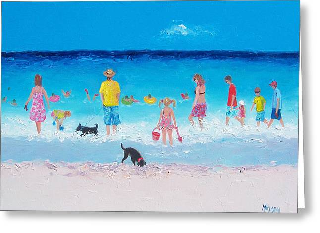 Dog Beach Print Greeting Cards - The Beach Parade Greeting Card by Jan Matson