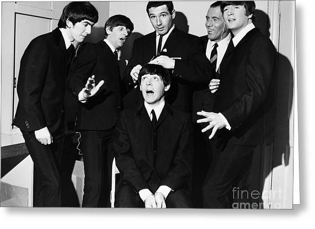 Dressing Room Photographs Greeting Cards - The Beatles, 1964 Greeting Card by Granger