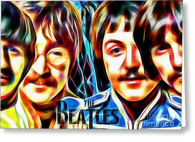 Pop Singer Greeting Cards - The Beatles in Color Greeting Card by Daniel Janda