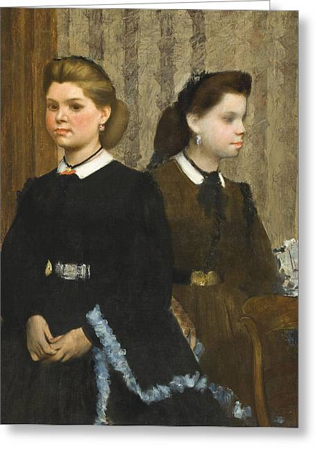 Three-quarter Length Greeting Cards - The Bellelli Sisters Greeting Card by Edgar Degas