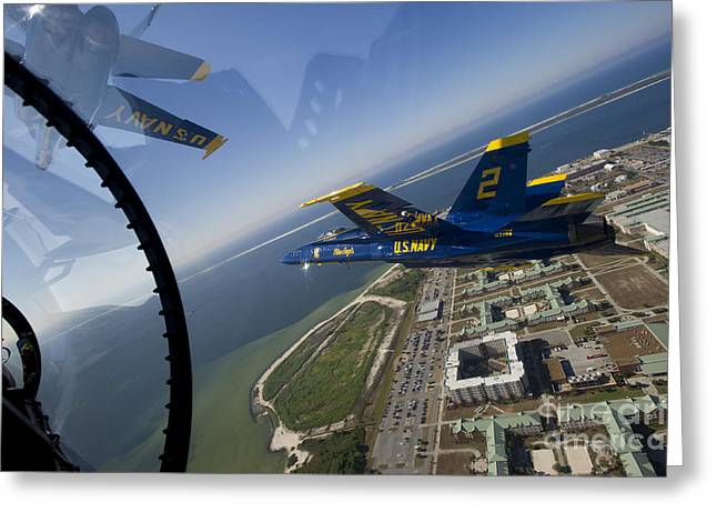 F-18 Paintings Greeting Cards - the Blue Angels Greeting Card by Celestial Images
