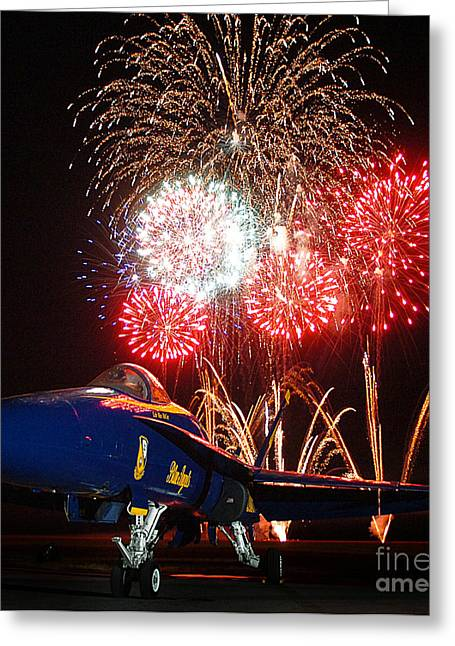 F-18 Paintings Greeting Cards - the Blue Angels US Navy    Greeting Card by Celestial Images