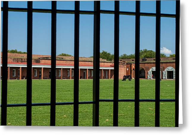 Steel. Grass Greeting Cards - The Brig at Fort Pulaski Greeting Card by A Different Brian Photography