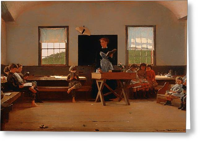 Schoolroom Greeting Cards - The Country School Greeting Card by Winslow Homer