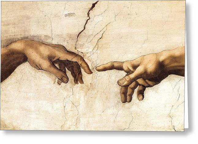 The Creation Of Adam Greeting Cards - The Creation Of Adam Greeting Card by Michelangelo