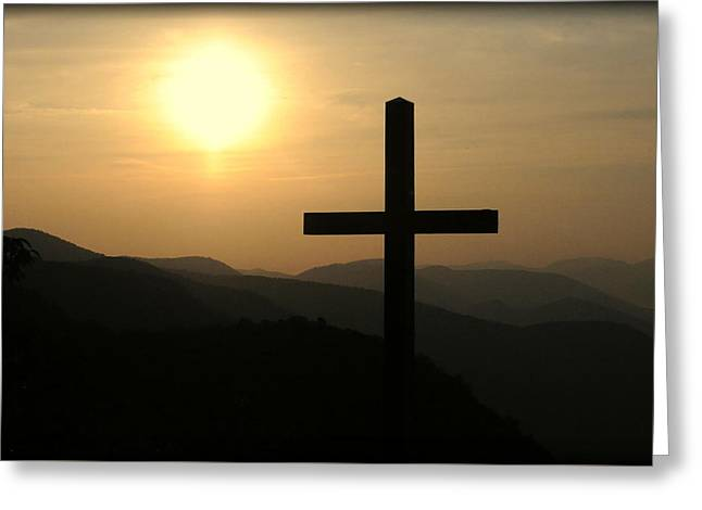 Calvary Greeting Cards - The Cross Greeting Card by Ellen Carlson