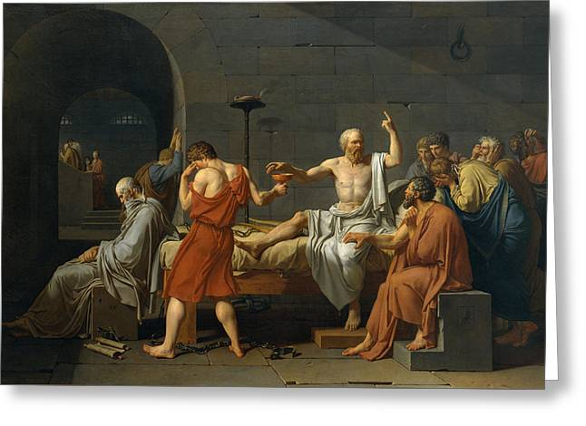 The Followers Greeting Cards - The Death of Socrates Greeting Card by Jacques Louis David