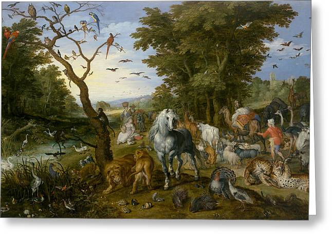 Noah Greeting Cards - The Entry of the Animals into Noahs Ark Greeting Card by Jan Brueghel the Elder