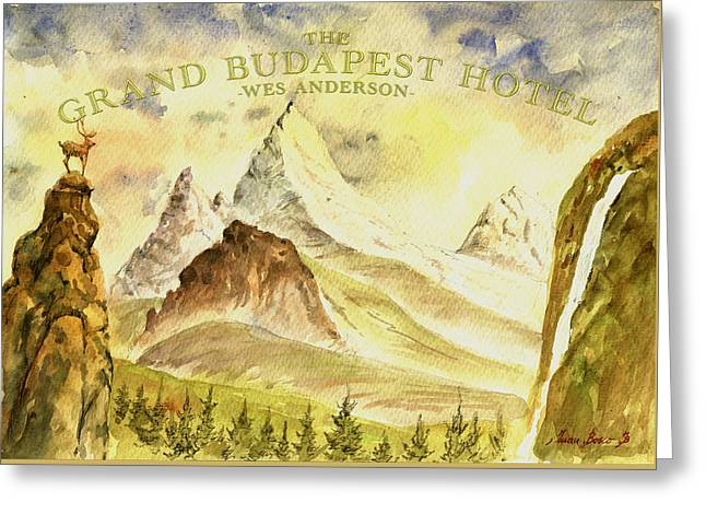 Moonrise Greeting Cards - The grand budapest hotel watercolor painting Greeting Card by Juan  Bosco