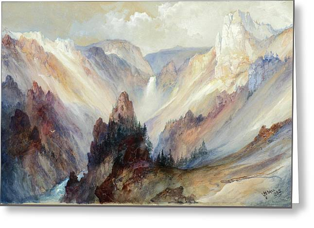 The Grand Canyon Of The Yellowstone Greeting Card by Thomas Moran