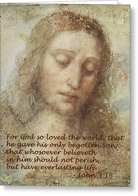 Religious Art Greeting Cards - The Head Of Christ Greeting Card by Leonardo da Vinci