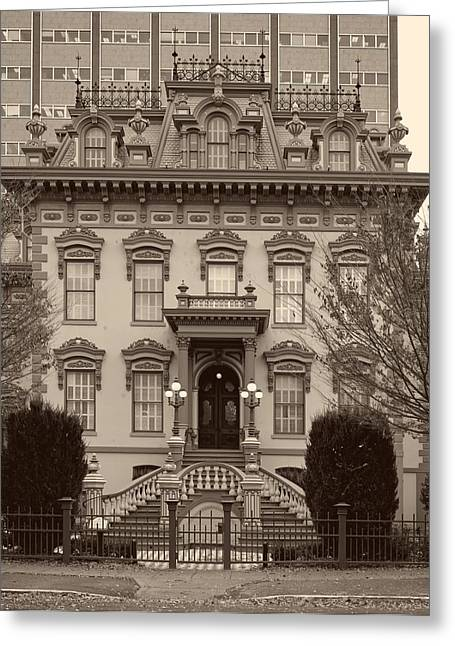 Entrance Door Greeting Cards - The Leland Stanford Mansion - Sacramento California Greeting Card by Mountain Dreams