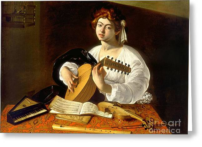 Lute Paintings Greeting Cards - The Lute-player Greeting Card by Caravaggio
