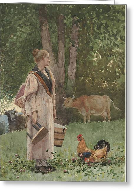 Cow Drawings Greeting Cards - The Milk Maid Greeting Card by Winslow Homer