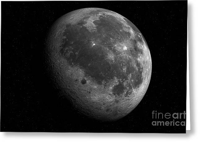 Mare Imbrium Greeting Cards - The Moon From Space Greeting Card by Detlev van Ravenswaay