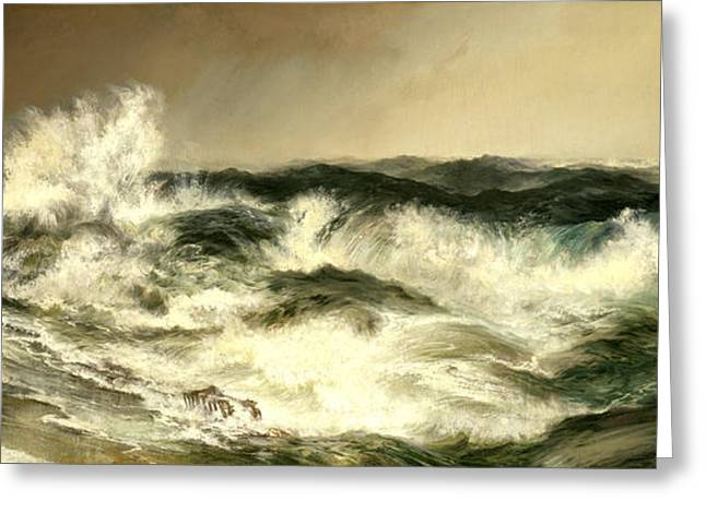 The Much Resounding Sea Greeting Card by Thomas Moran