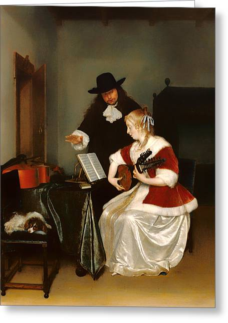 Lessons Greeting Cards - The Music Lesson Greeting Card by Gerard Ter Borch