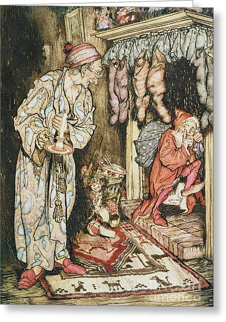 Xmas Greeting Cards - The Night Before Christmas Greeting Card by Arthur Rackham