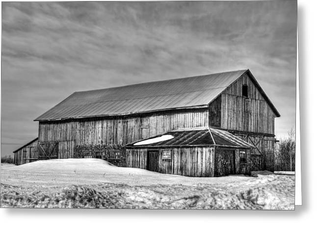 Snowy Evening Greeting Cards - The Old Barn - A Canadian Winter Sunset Greeting Card by Viateur Beaulieu