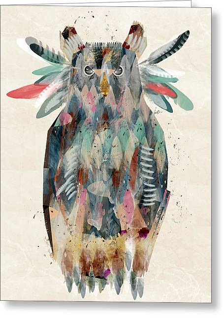 Colorful Owl Greeting Cards - The Owl Greeting Card by Bri Buckley