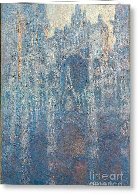 Portal Paintings Greeting Cards - The Portal of Rouen Cathedral in Morning Light Greeting Card by Claude Monet