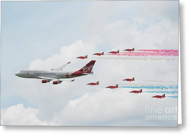 Aviation Photography Greeting Cards - The Red Arrows Greeting Card by Lee-Anne Rafferty-Evans