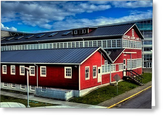 Historical Buildings Greeting Cards - The Red Barn of the Boeing Company Greeting Card by David Patterson
