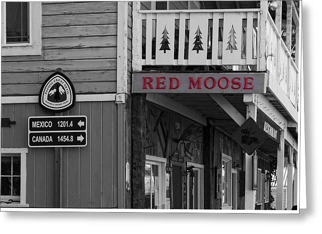 Wooden Building Greeting Cards - The Red Moose Greeting Card by Mountain Dreams