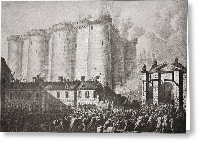 14th July Greeting Cards - The Storming Of The Bastille, Paris Greeting Card by Ken Welsh