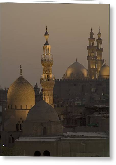 Religious Structure Greeting Cards - The Sultan Hassan And Rifai Mosques Greeting Card by Richard Nowitz