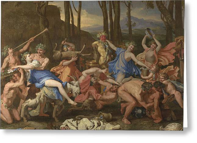 The Triumph Of Pan Greeting Card by Nicolas Poussin