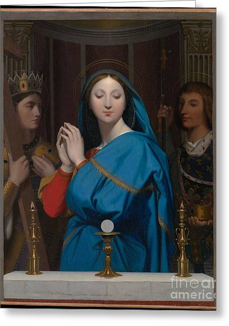 Virgin Mary Drawings Greeting Cards - The Virgin Adoring the Host Greeting Card by Jean Auguste Dominique Ingres