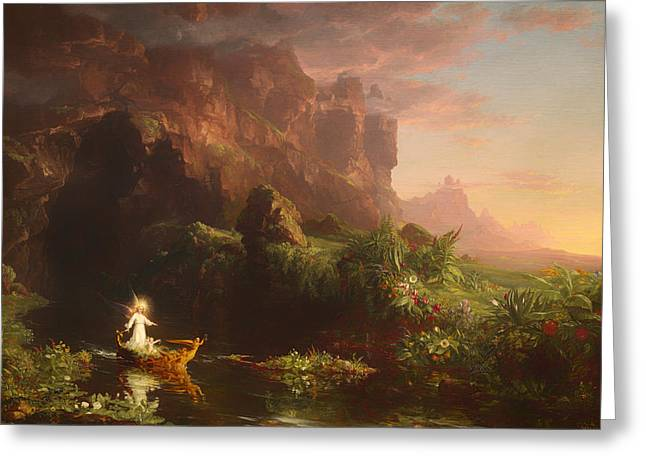 River Of Life Greeting Cards - The Voyage Of Life - Childhood Greeting Card by Thomas Cole