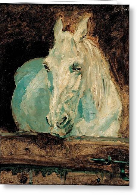 The Horse Greeting Cards - The White Horse Gazelle Greeting Card by Henri De Toulouse-Lautrec