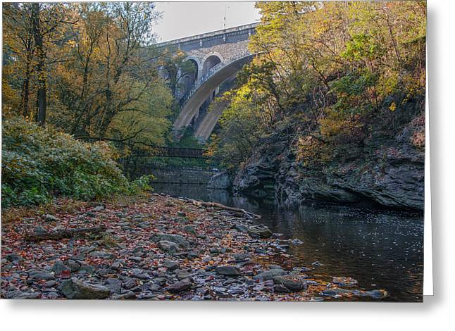 The Wissahickon Creek Under The Henry Avenue Bridge Greeting Card by Bill Cannon