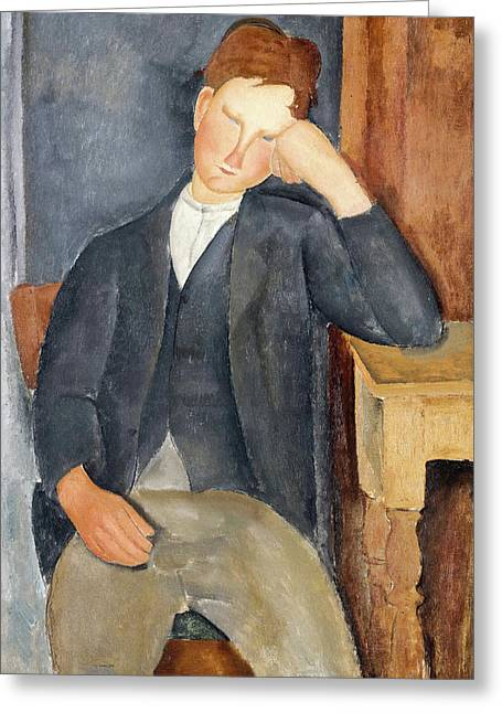 20th Greeting Cards - The Young Apprentice Greeting Card by Amedeo Modigliani