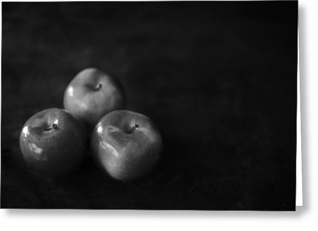 Setup Greeting Cards - Three Apples Black and White Greeting Card by Donald  Erickson