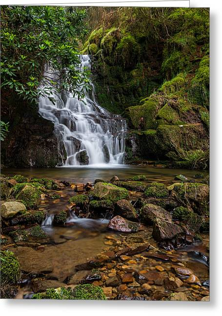 Long Exposure Greeting Cards - Three Nooked Shaw Waterfall. Greeting Card by Daniel Kay