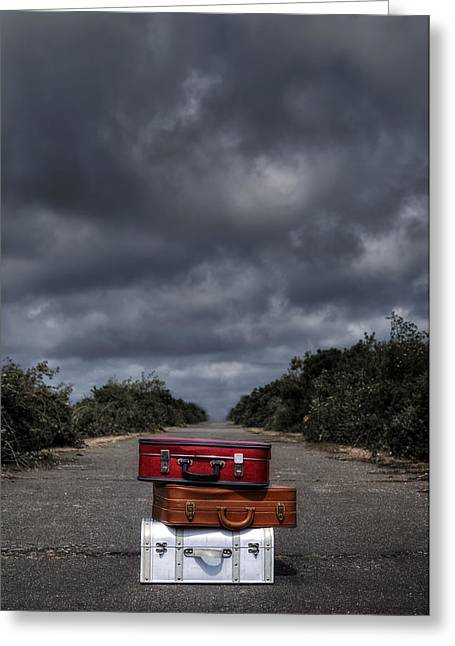 Long Street Greeting Cards - Three Suitcases Greeting Card by Joana Kruse