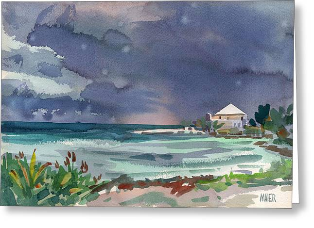 Key West Paintings Greeting Cards - Thunderstorm Over Key West Greeting Card by Donald Maier