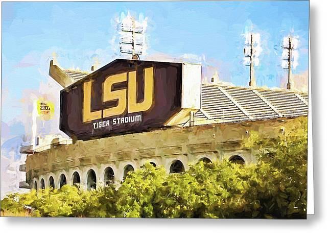 Lsu Campus Greeting Cards - Tiger Stadium Greeting Card by Scott Pellegrin