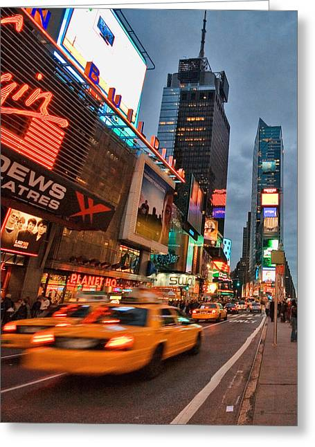 Times Square Greeting Card by June Marie Sobrito