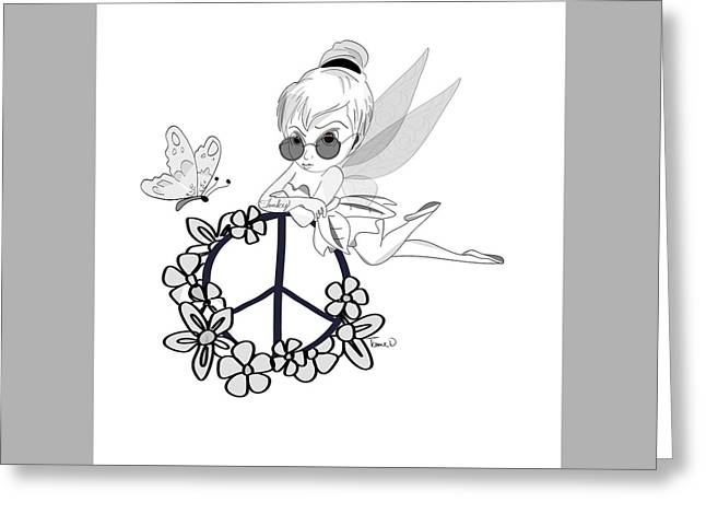 Tinker Bell Drawings Greeting Cards - Tinky Greeting Card by Tami Dalton
