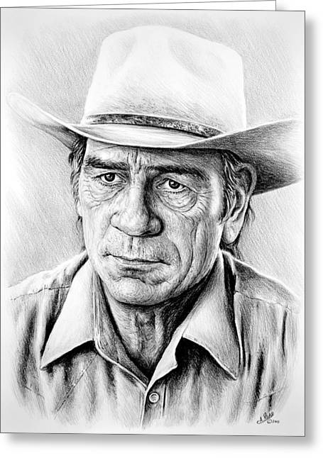 Movie Star Drawings Greeting Cards - Tommy Lee Jones Greeting Card by Andrew Read